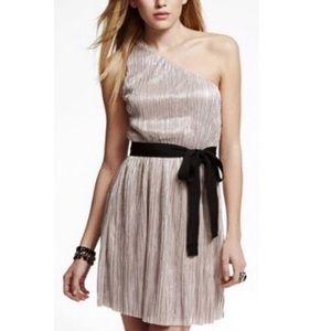 NWT Express Metallic One Shoulder Belted Dress L